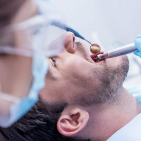 patient with a dentist working